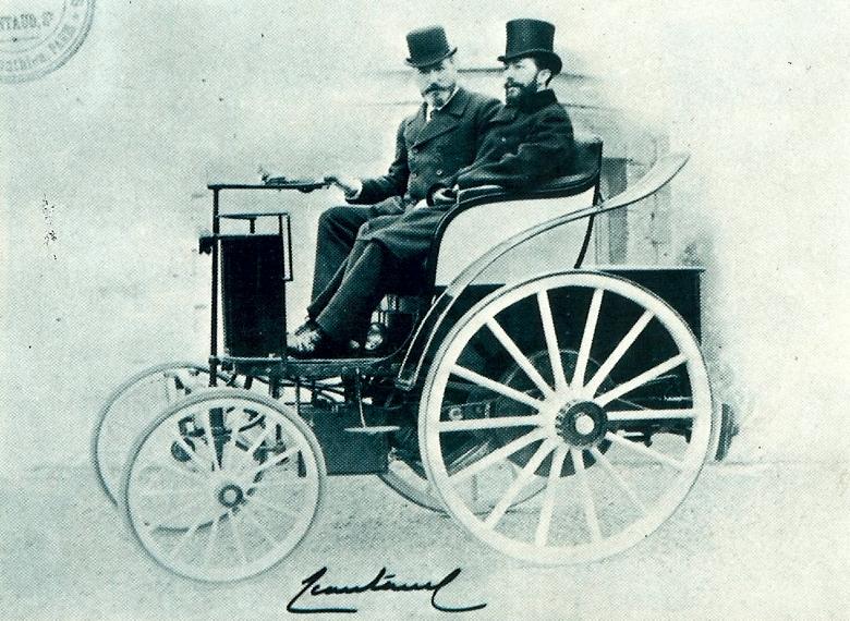 Шарль Жанто за рулем своего двухместного автомобиля,1894г.