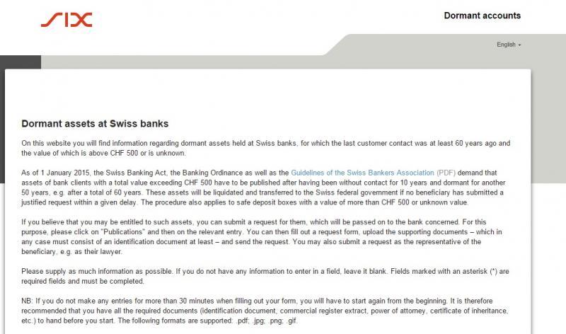 Сайт невостребованных швейцарских вкладов