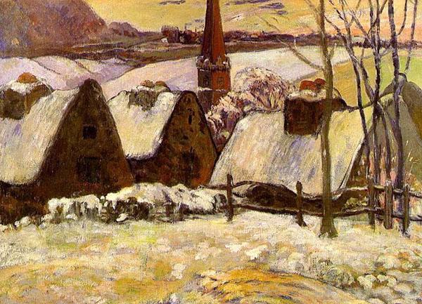 Картина Поле Гогена «Бретонская деревня в снегу»