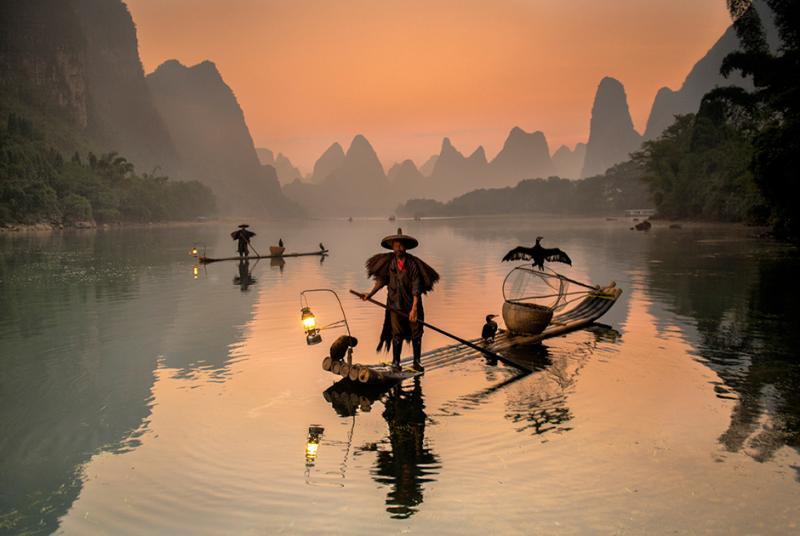 Рыбаки. Река Гуйлинь, Китай, 2013